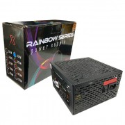 Fonte Gamer ATX BRX Rainbow 500W Real, 80 Plus Bronze, Cooler120mm RGB, Bivolt Automático