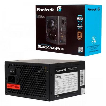 Fonte Gamer ATX Fortrek Black Hawk 500W, 80 Plus Bronze, PFC Ativo, Bivolt, Preto