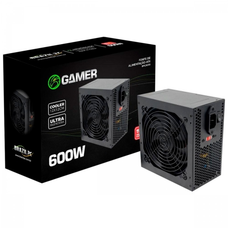 Fonte Gamer Brazil PC BPC/6350-B 600W Real 24 Pinos