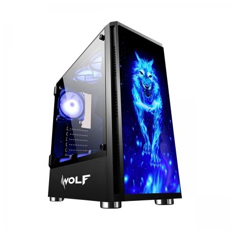 Gabinete Gamer Bluecase Wolf BG-026, Preto, Lateral em Vidro Temperado, USB 3.0