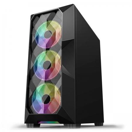 Gabinete Gamer Hayom GB1710, 3 Fans Frontais, LED RGB, USB 3.0