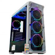 Gabinete Gamer K-MEX White Trooper CG-02B1 3 Fans RGB + Fita LED - CG02B1RH0020B0X - Branco