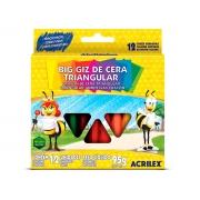 Giz de Cera Triangular 12 Cores, Pacote C/ 12 Caixinhas - Acrilex