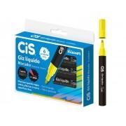 Giz Líquido Amarelo, Caixa c/ 6 Unidades - Cis - 526500
