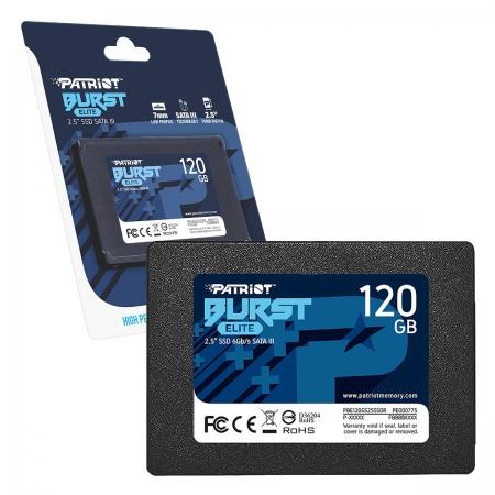 HD SSD 120GB Patriot Burst Elite, Sata III 6Gb/s, Leitura 450MB/s, Gravação 320MB/s - PBE120GS25SSDR