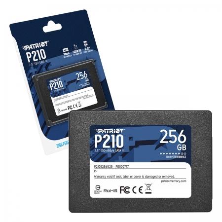 "HD SSD 256GB Patriot P210, 2.5"" Sata III 6Gb/s, Leitura 500 MB/s, Gravação 400 MB/s - P210S256G25"