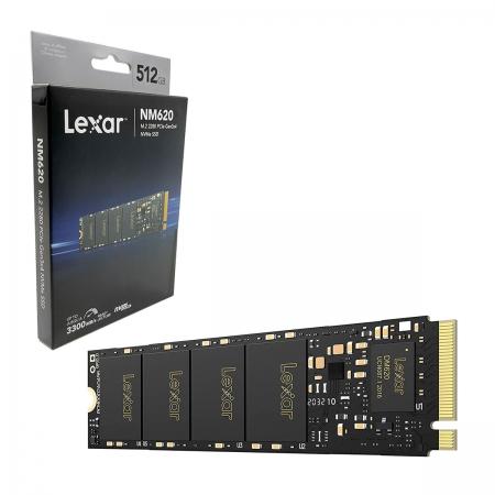 HD SSD 512GB Lexar NM620, M.2 2280 NVMe, PCIe Gen3x4, Leitura 3300 MB/s, Gravação 2400 MB/s