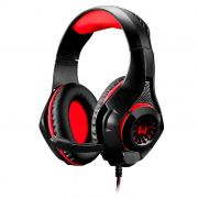 Headset Gamer Multilaser Warrior Rama P3 + USB Stereo Adaptador P2 LED Vermelho - PH219
