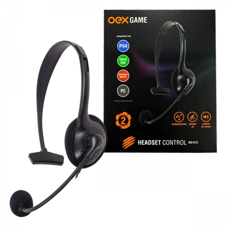 Headset Gamer OEX Control HS212, P3 (3.5mm), Multiplataforma - PS5, PS4, Xbox Series X|S, Xbox One