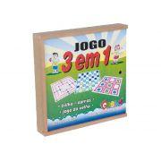 Jogo 3 Em 1, Contém 3 Jogos Em M.D.F. Carlu - 1067