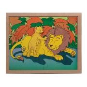 Jogo Quebra-cabeça Animais e Filhotes, Leão, Base Em M.D.F. Carlu - 3106