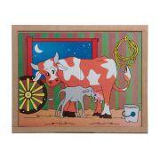 Jogo Quebra-Cabeça Animais e Filhotes, Vaca, Base Em M.D.F. Carlu - 3101