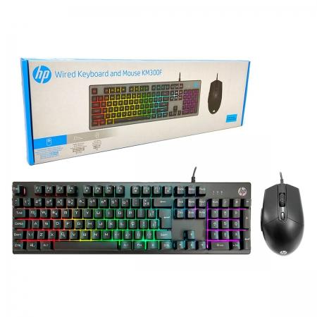 Kit Teclado e Mouse Gamer HP KM300F, USB, RGB, 6400 DPI, ABNT2