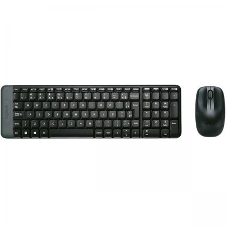 Kit Teclado e Mouse Logitech MK220, Wireless, ABNT2, Preto