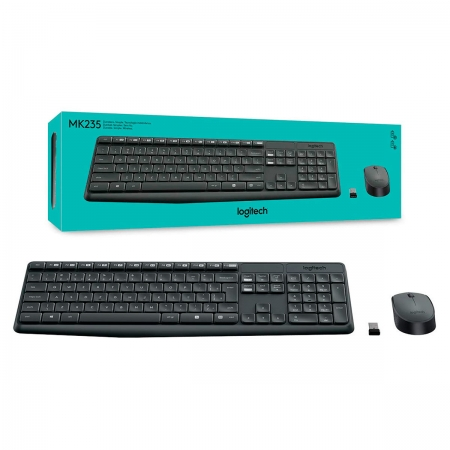 Kit Teclado e Mouse Logitech MK235 Wireless, ABNT2