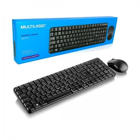 Kit Teclado e Mouse Multilaser TC183, Wireless 2.4GHz, ABNT2, 1000DPI, Preto