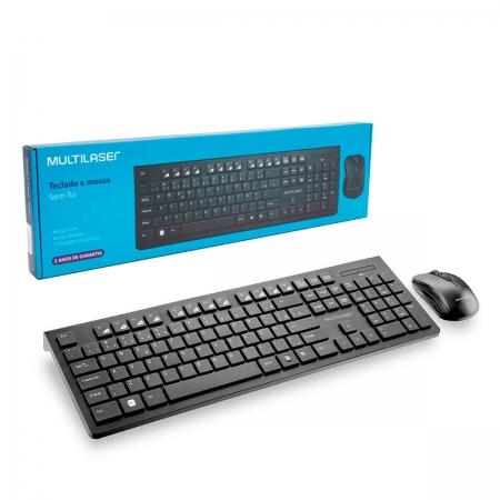 Kit Teclado e Mouse Multilaser TC212, Wireless, ABNT2, Preto, 12 Funções Multimídia