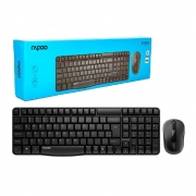 Kit Teclado e Mouse Rapoo X1800S, Wireless 2.4 GHz, ABNT2, 1000 DPI, Preto - RA001