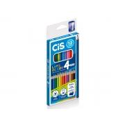 Lápis de Cor 12 Cores, Triangular, 4 mm + 1 Apontador + 1 Lápis Preto HB, Cis - 537200