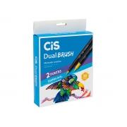 Marcador Artistico Dual Brush 2 Pontas Aquarelável, Estojo 36 Cores - Cis - 580300