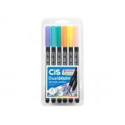 Marcador Artístico Dual Brush 2 Pontas Aquarelável, Estojo 6 Cores Pastel - Cis - 580100