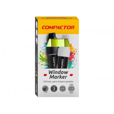 Marcador Window Amarelo, Pacote C/ 3 Unidades, Compactor