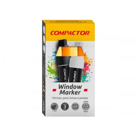 Marcador Window Laranja, Pacote C/ 3 Unidades, Compactor