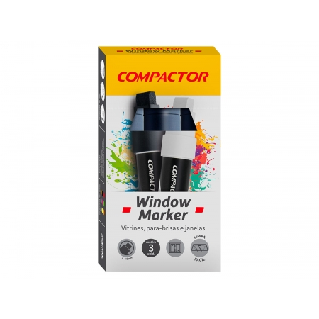 Marcador Window Preto, Pacote C/ 3 Unidades, Compactor