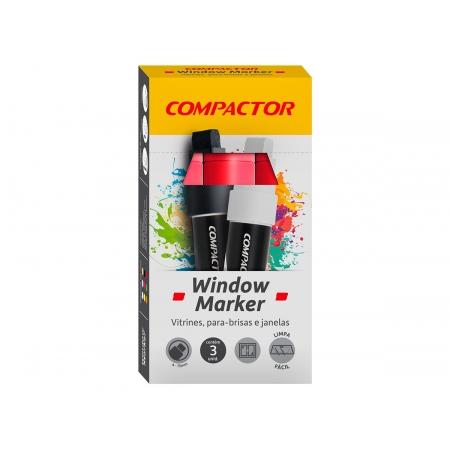 Marcador Window Vermelho, Pacote C/ 3 Unidades, Compactor