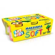 Massinha de Modelar Soft, 6 Cores, Contém 6 Potes Com 150 g, Acrilex