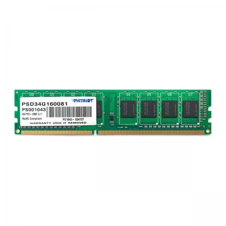 Memória Patriot Signature Line 4GB, DDR3, 1600MHz, CL11, 1.5V - PSD34G160081