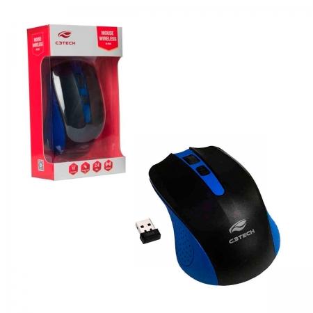 Mouse C3Tech M-W20BL, Wireless, 1000 DPI, Azul e Preto