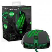 Mouse Gamer Fortrek Raptor Series OM801 USB Preto e Verde 3200 DPI