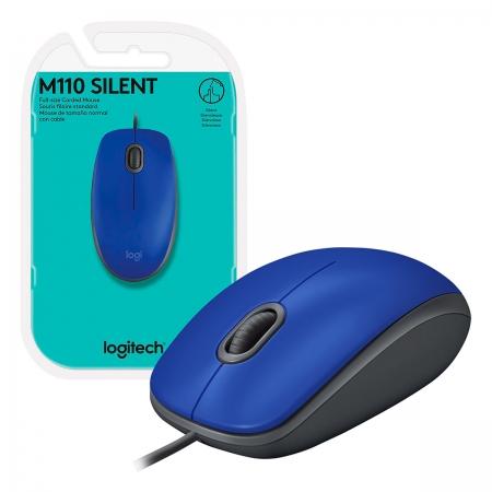 Mouse Logitech M110 Silent, USB, 1000 DPI, Azul