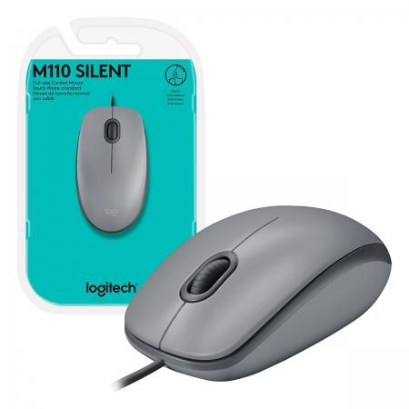 Mouse Logitech M110 Silent, USB, 1000 DPI, Cinza