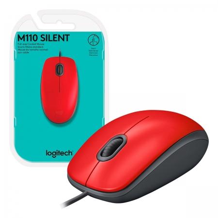 Mouse Logitech M110 Silent, USB, 1000 DPI, Vermelho