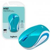 Mouse Logitech M187 Wireless, Verde-Água, 1000DPI