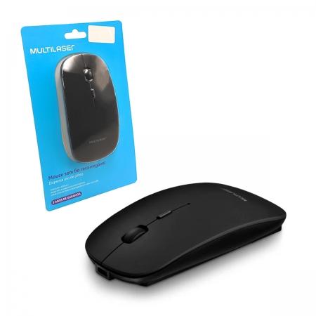 Mouse Multilaser MO290, Wireless 2.4GHz, Bateria Lítio Recarregável, 1600 DPI, Preto