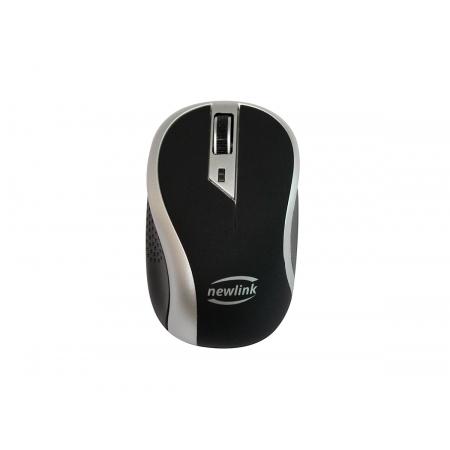 Mouse Newlink Wave MO112, Wireless, 1600 DPI, Preto e Cinza
