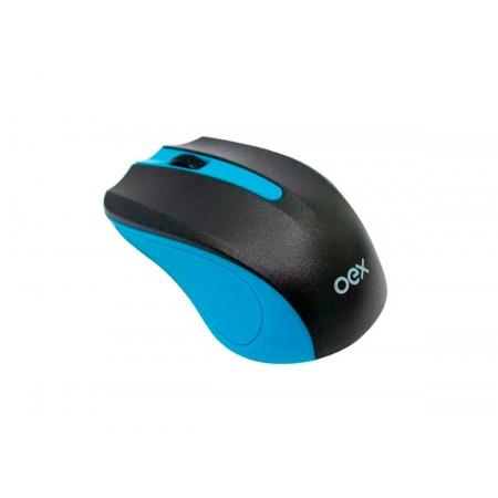 Mouse OEX Experience MS404, Wireless, 1200DPI, Preto e Azul