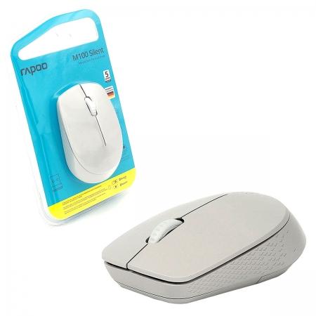 Mouse Rapoo M100 Silent, Wireless 2.4 GHz, Bluetooth, 1000 DPI, Clique Silencioso, Branco - RA010