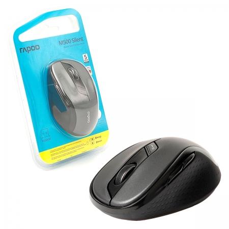 Mouse Rapoo M500 Silent, Wireless 2.4 GHz, Bluetooth, 1600 DPI, Clique Silencioso, Preto - RA013