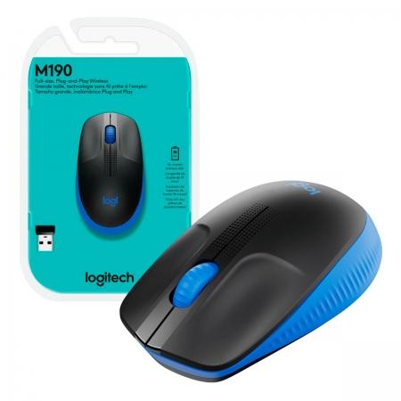 Mouse Wireless Logitech M190, 1000DPI, Preto e Azul