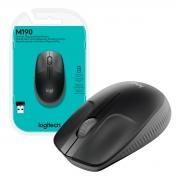 Mouse Wireless Logitech M190, 1000DPI, Preto e Cinza