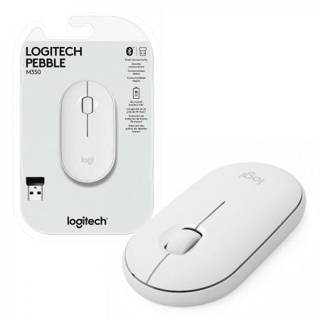 Mouse Wireless Logitech Pebble M350, 1000 DPI, Unifying, Branco