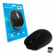 Mouse Wireless Multilaser MO277, 2.4GHz, Bateria Lítio Recarregável, Preto