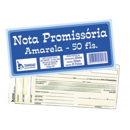 Nota Promissória Pequena Amarela, 50 Folhas, Contém 20 Blocos, Tamoio - 01017