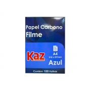 Papel Carbono Filme A4 Azul Contém 100 Folhas Kaz - 728734