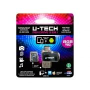 Pendrive U-tech 8gb (3 Em 1) Usb Otg / Micro Sd / Card Reader Pd3x1 Preto