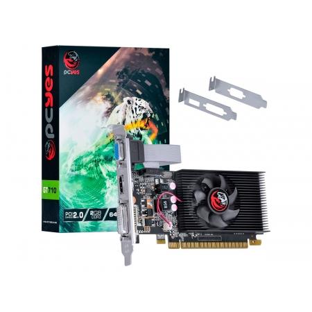 Placa de Vídeo 2GB Pcyes GT710 DDR3 64Bits PA710GT6402D3LP